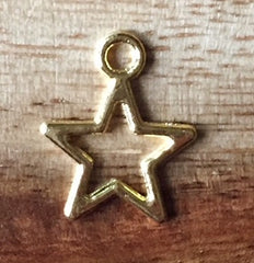 Gold Hollow Punchout Star Charm