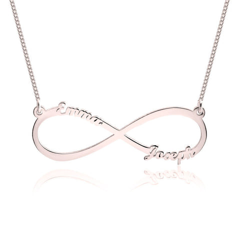 Couples Name Necklace In Infinity Loop Styling, Made With Genuine Sterling Silver & Rose Gold plating