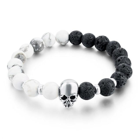 Skull King Black & White Stone Bead Stretch Bracelet
