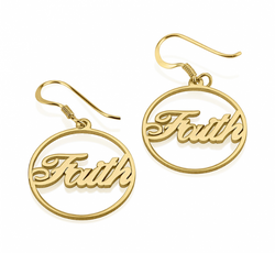 Personalized Name 24k Gold Plated Hoop Earrings
