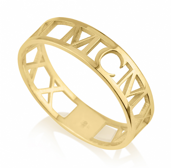 Custom Date Roman Numeral 14k Yellow Gold Ring