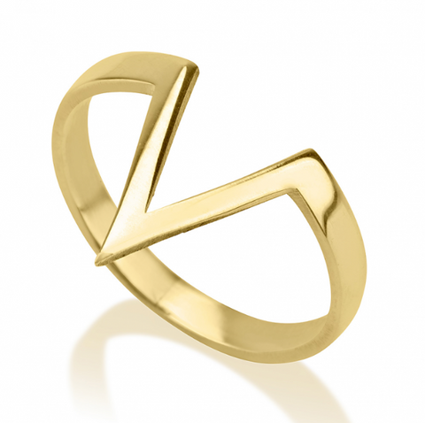 Chevron Victory V-Shape 24k Gold Ring