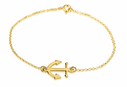 24k Gold Plated Nautical Jewelry Anchor Rolo Chain Bracelet