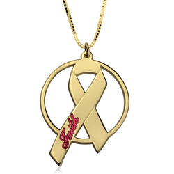 24k Gold | Personalized Name | Breast Cancer Ribbon Pendant