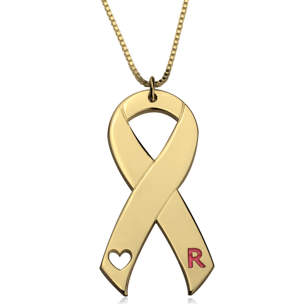 24k Gold | Personalized Initial | Breast Cancer Ribbon Pendant