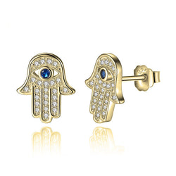 24k Gold & Cubic Zirconia Hamsa Earrings