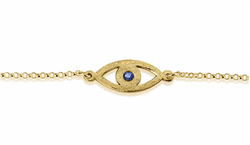 24k Gold Plated Evil Eye Birthstone Chain Bracelet