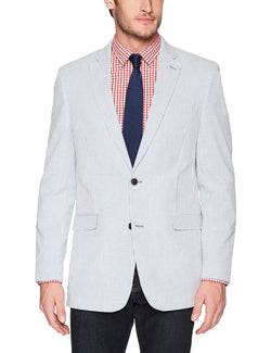 Tommy Hilfiger Men's Modern Fit Blue Seersucker Lightweight Blazer