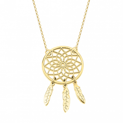 Antique Dreamcatcher 24k Gold-Plated Pendant Necklace