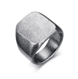 Arx Chunky Silver Stainless Steel Geometric Signet Pinky Ring