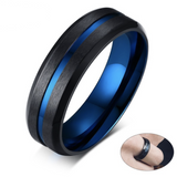 martillo matte black and blue stainless steel rugged mens wedding band