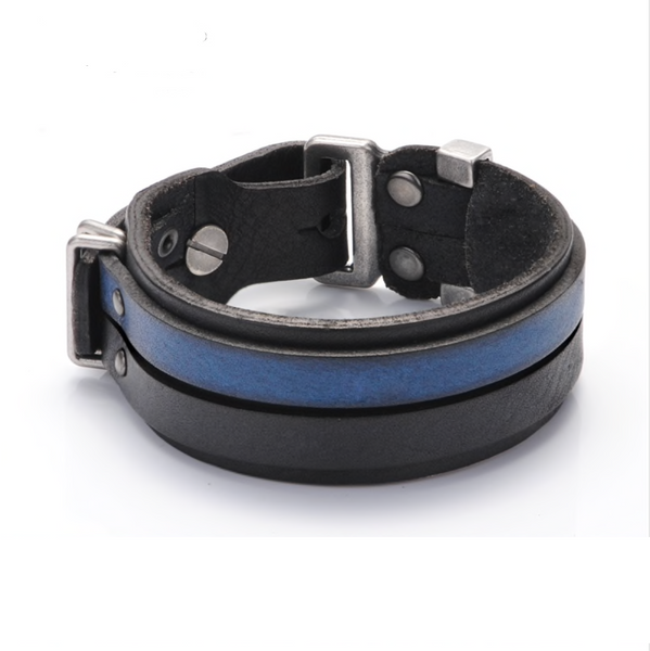 Black & Blue Two-Tone Italian Leather Racing Stripe Bracelet