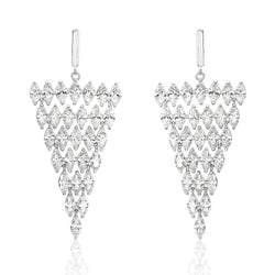 Chandelier Triangle Sparkling CZ Statement Earrings