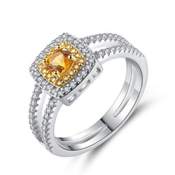 Classique .925 Sterling Silver Yellow Topaz Statement Ring
