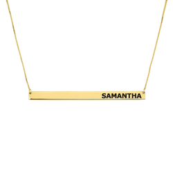 Custom Name 24k Gold Horizontal Name Bar Necklace