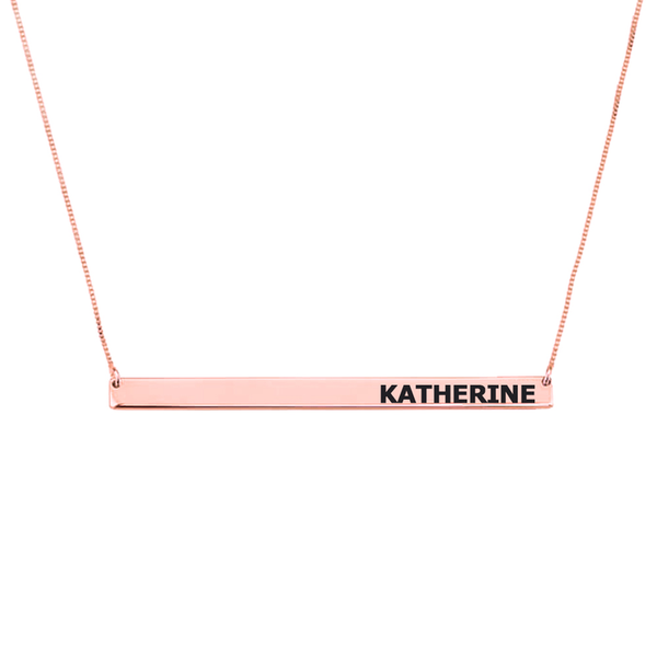 Custom Name Rose Gold Horizontal Name Bar Necklace