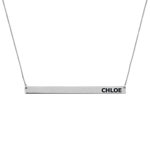 Custom Name Sterling Silver Horizontal Name Bar Necklace
