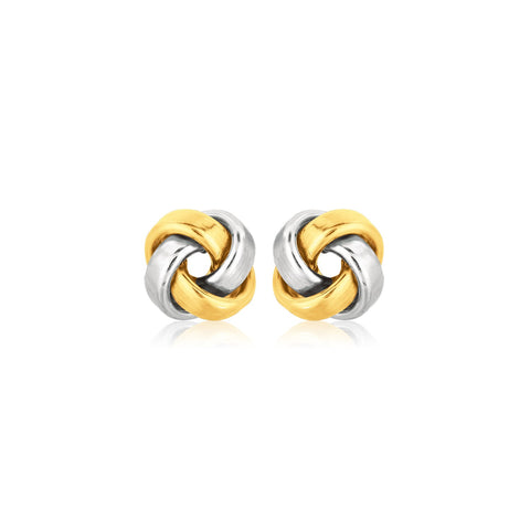 14k Two-Tone Gold Square Love Knot Studs