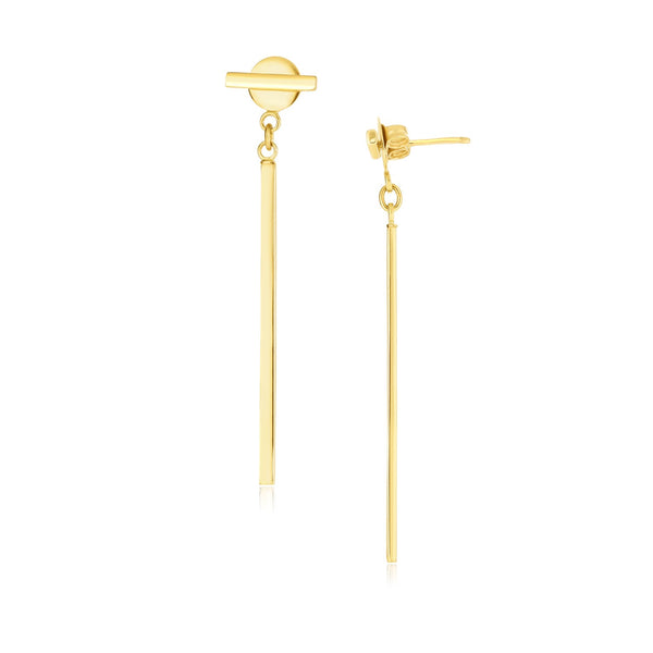 14k Yellow Gold Modern Disc and Bar Drop Earrings