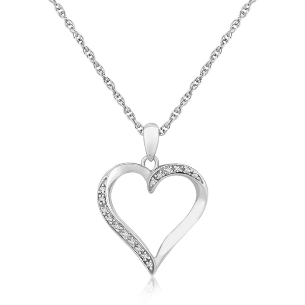 Sterling Silver Pave Diamond Heart Pendant Necklace