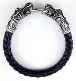 Dueling Dragon Black Leather Clasp Bracelet