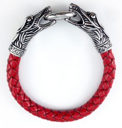 Dueling Dragon Red Braided Leather Clasp Bracelet