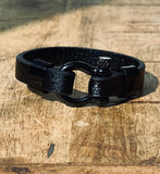 Forge Leather & Steel Horseshoe Shackle Buckle Wrap Bracelet