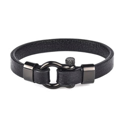Forge Leather & Steel Horseshoe Shackle Buckle Clasp Bracelet