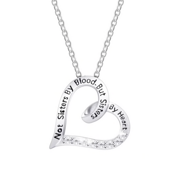 "Friendship Necklace | ""Not Sisters By Blood, But Sisters By Heart"" Pendant"