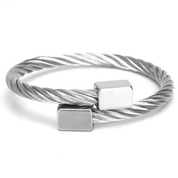 Highline Stainless Steel Cable Wrap Thick Cuff Bracelet