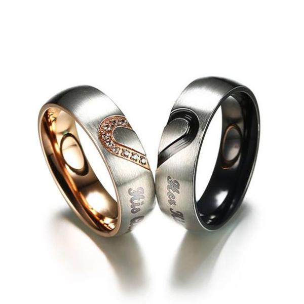 His Queen & Her King | Stainless Steel Couples Wedding Band Set