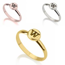 Personalized Monogram Sterling Silver 24k Gold Rose Gold Circle Initial Letter Midi Ring