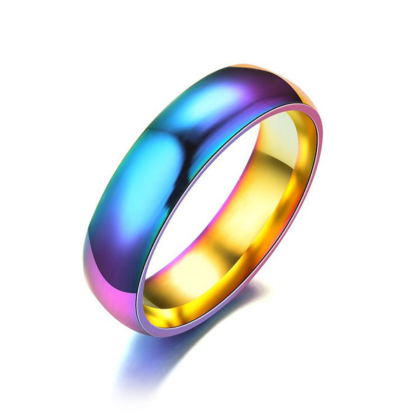 Iridescent Titanium Steel Alloy Unique Wedding Band Alternative