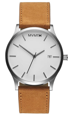 MVMT Men's Classic Minimalist Analog Watch With A 45mm Stainless Steel Case & Genuine Leather Strap