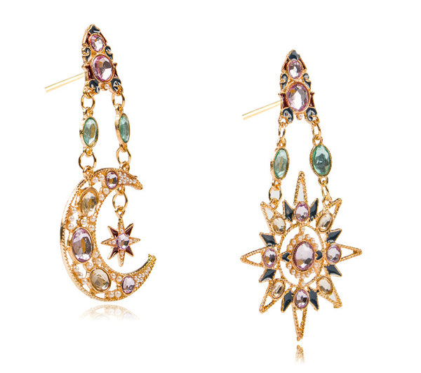 Moon and Stars Celestial Crystal Statement Earrings