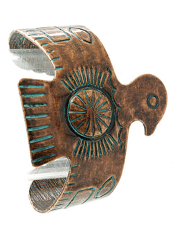 Native Thunderbird Patina Aged Copper Color Wide Alloy Cuff Bracelet