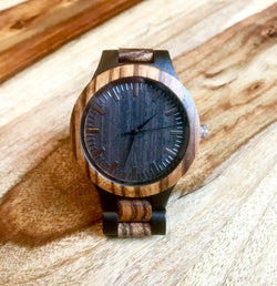 Genuine Zebrawood Quartz Dress Watch