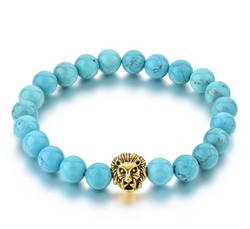 The Lion | Turquoise & Gold Charm Beaded Stretch Bracelet
