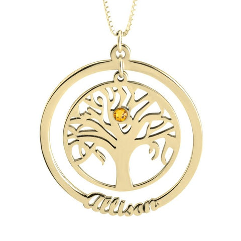 Personalized 24k Gold Family Tree Necklace