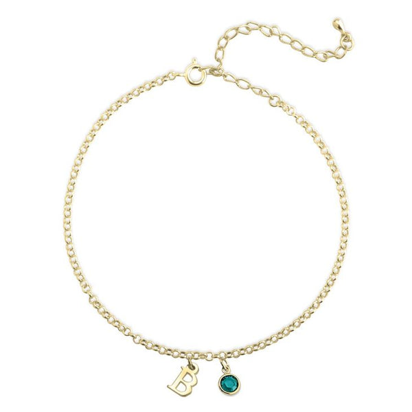 Personalized 24k Gold Minimalist Initial Anklet With A Birthstone Charm