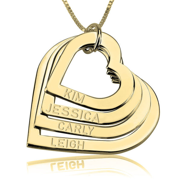 24k Gold | Personalized Name | Engraved Heart Necklace
