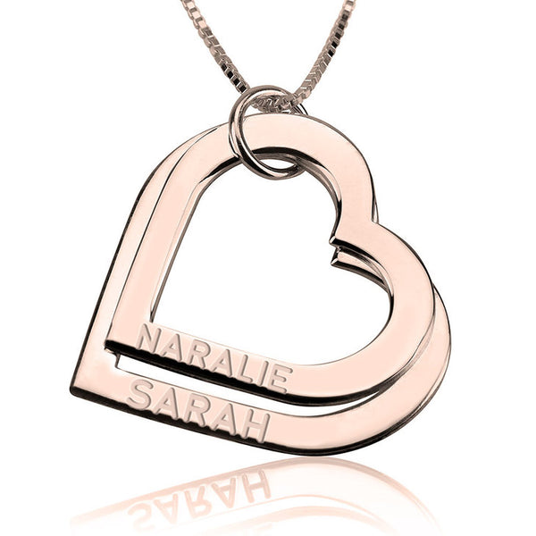 Personalized Name Rose Gold Engraved Heart Necklace
