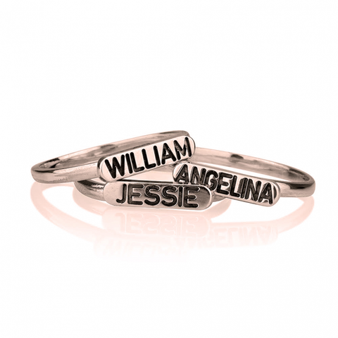 Personalized Name Rose Gold Stackable Midi Rings