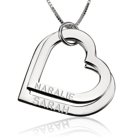 Sterling Silver Engraved Heart Necklace | Couple Name Necklace