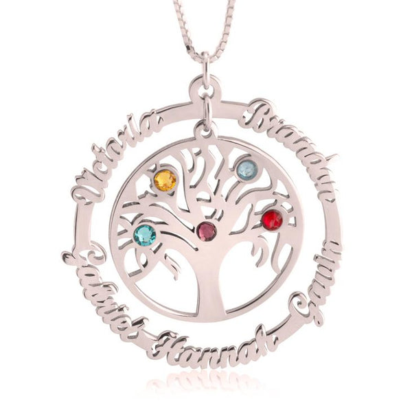 Rose Gold | Personalized Names & Birthstones | Family Tree Necklace