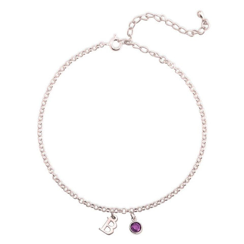 Personalized Rose Gold Initial Anklet With A Birthstone Charm