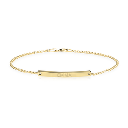 Personalized Slim Bar 24k Gold Name Bracelet