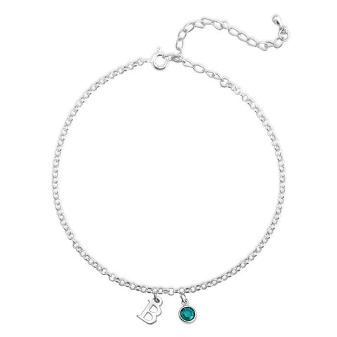 Personalized Silver Minimalist Initial Anklet With A Birthstone Charm
