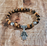 Hand of Fatima tiger eye beaded Beaded Bracelet
