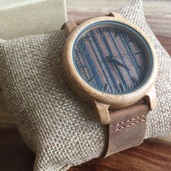 Men's Striped Brown Wood Watch with Leather Bands
